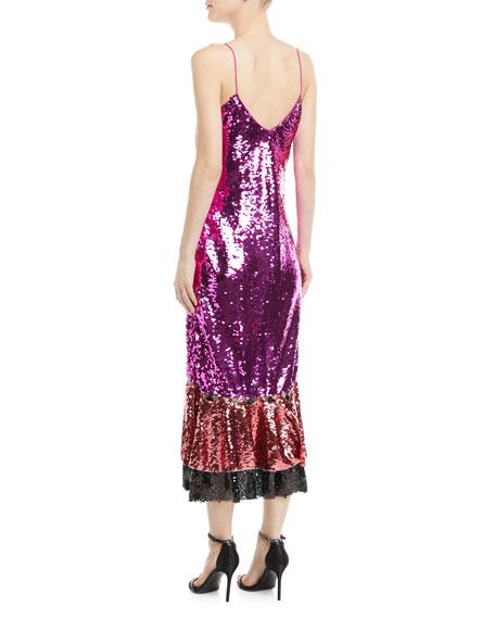 Maslak Sequin Flounce-Hem Slip Cocktail Dress
