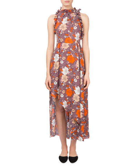 Assisi Floral-Print Ruffle Open-Back Halter Cocktail Dress
