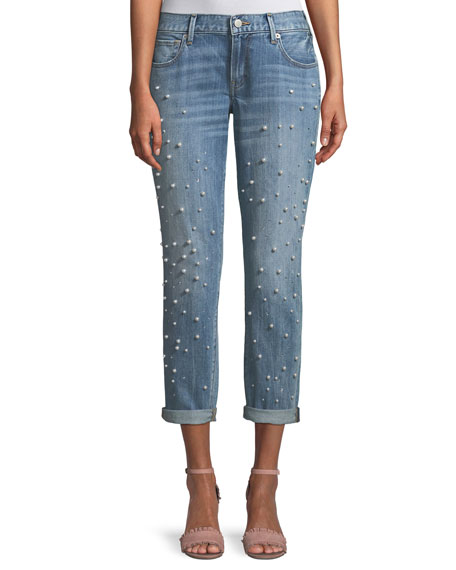 Cameron Straight-Leg Boyfriend-Style Jeans with Pearly Beads