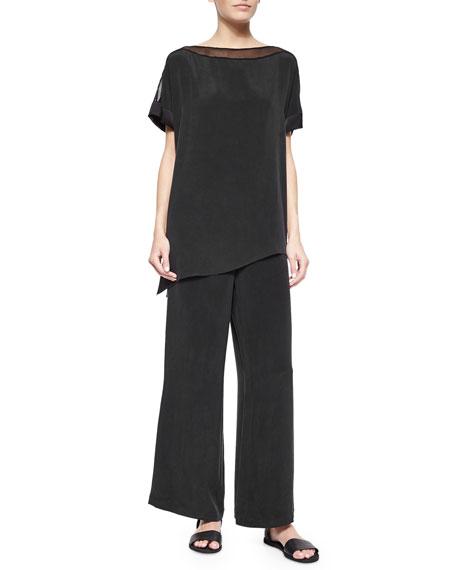 Silk Full-Leg Pants, Plus Size