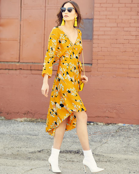 Long-Sleeve Asymmetric-Hem Floral-Print Silk Wrap Dress