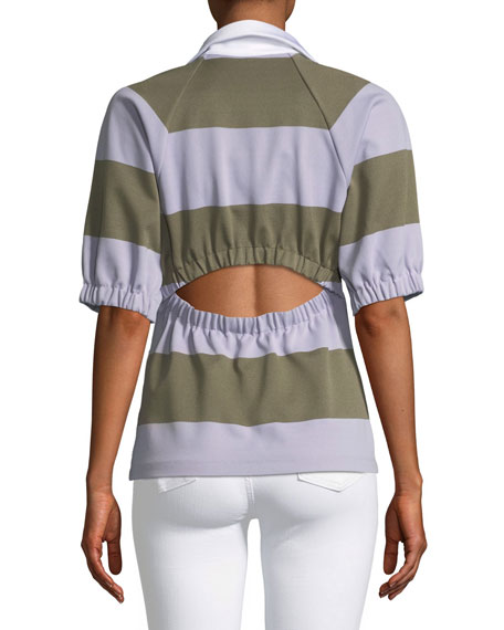 Rugby Elbow-Sleeve Cropped Polo Top