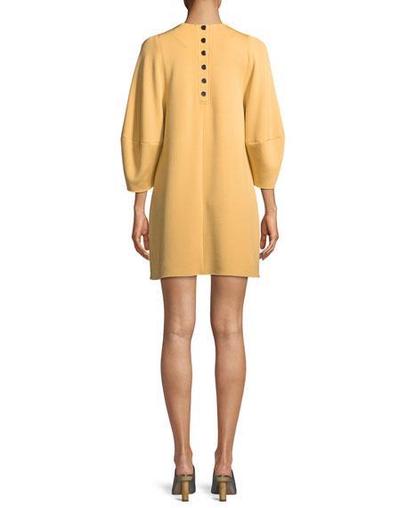 Jewel-Neck Balloon-Sleeve Crepe Mini Dress