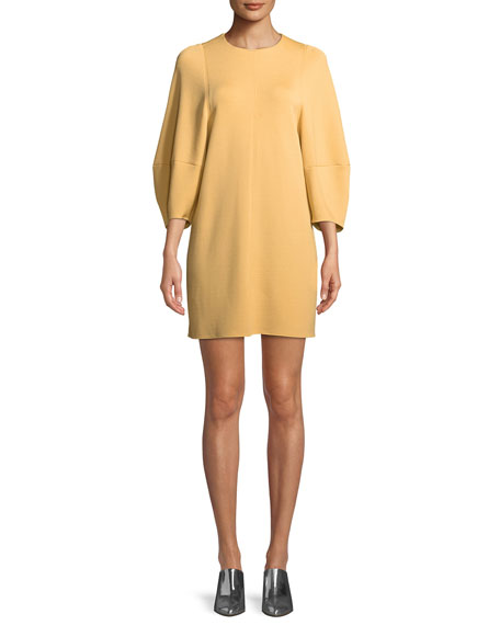 Tibi Jewel-Neck Balloon-Sleeve Crepe Mini Dress