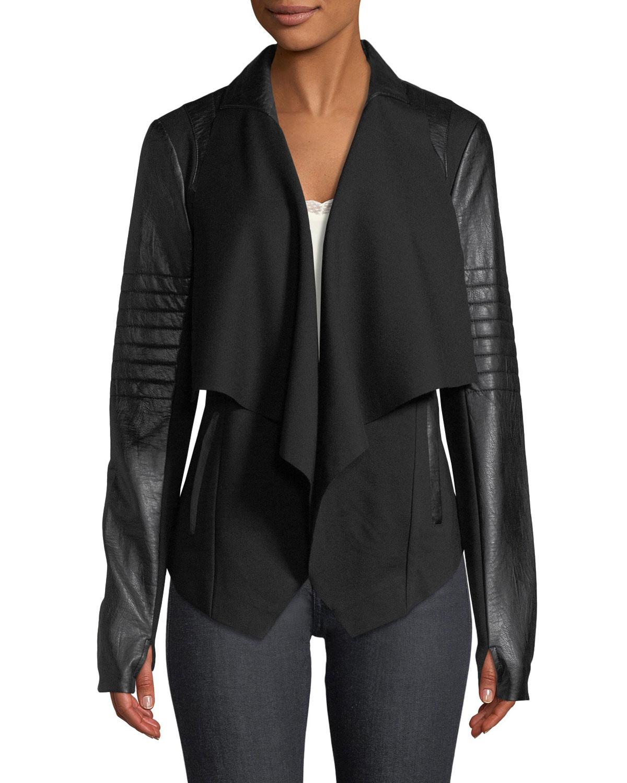 Blanc Noir Drape-Front Quilted Faux-Leather Jacket