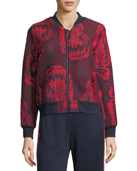 Soho Floral-Embroidered Mesh Bomber Jacket