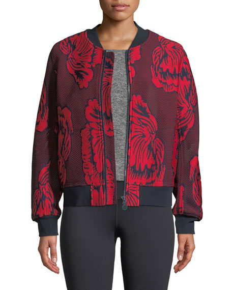 Tory Sport Soho Floral-Embroidered Mesh Bomber Jacket