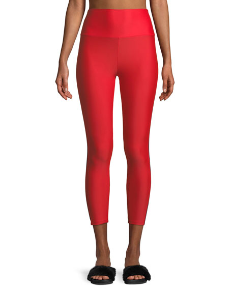 Lanston Caleb High-Waist Contrast Curve Cropped Leggings