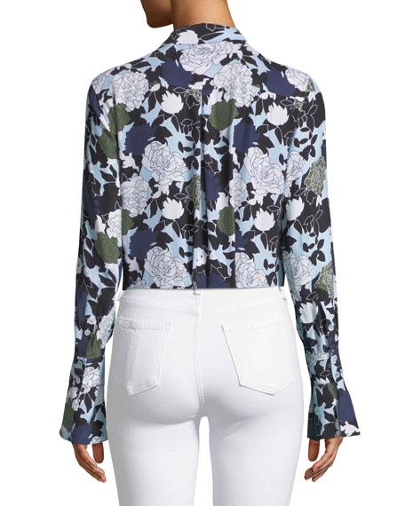 Daphne Button-Front Long-Sleeve Floral-Print Silk Shirt