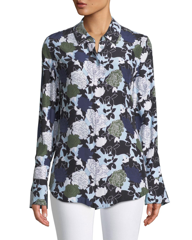 Equipment Daphne Button Front Long Sleeve Floral Print Silk Shirt