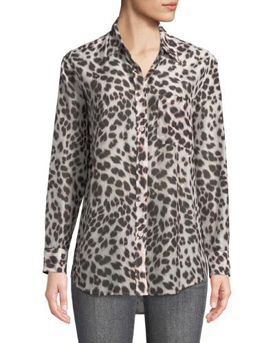 Animal-Print Button-Front Egyptian Cotton Shirt