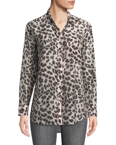 Equipment Animal-Print Button-Front Egyptian Cotton Shirt