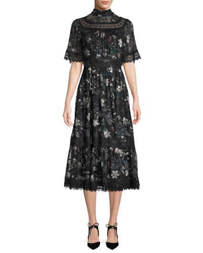 botanical chiffon mock-neck midi dress