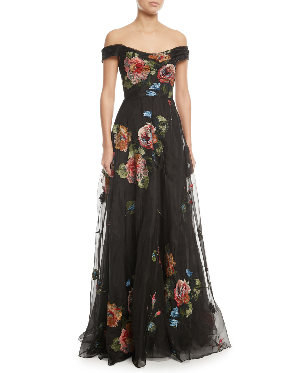 Marchesa Notte Off-the-Shoulder Embroidered Silk Organza Ball Gown | Neiman  Marcus