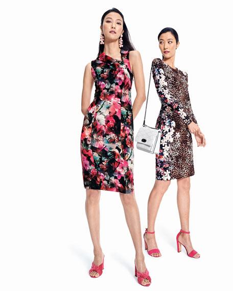 Blaze Floral-Print Asymmetric Sheath Dress