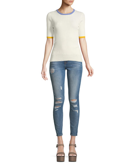 Halle High-Rise Distressed Super Skinny Jeans