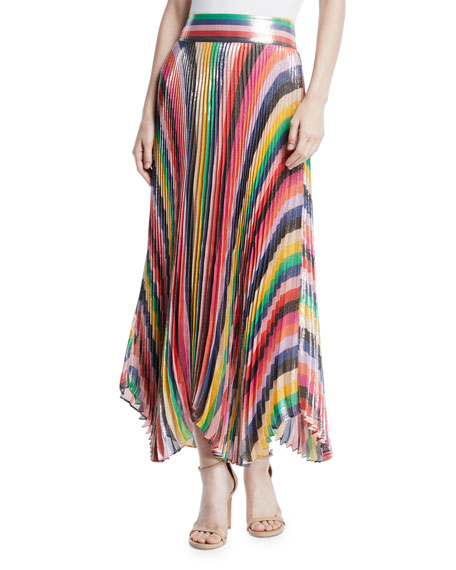 Katz Sunburst Pleated Metallic Striped Midi Skirt