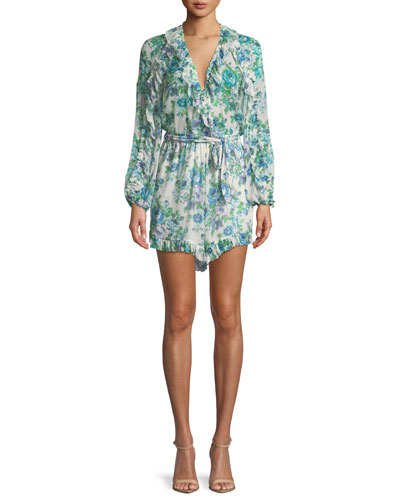 Breeze Ruffle Floral-Print Silk Playsuit