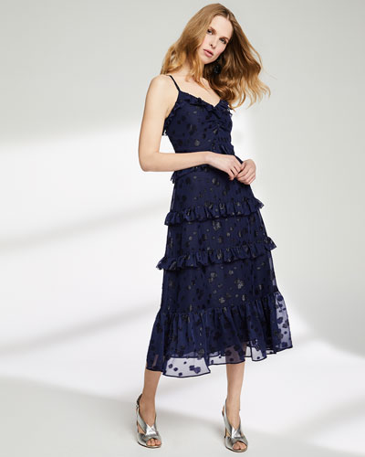 Tiered-Ruffle Dot-Print Midi Dress