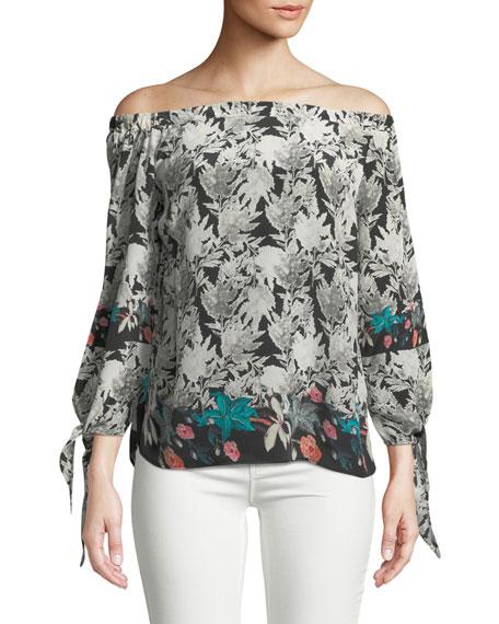 Nyala Off-the-Shoulder Silk Top, Plus Size