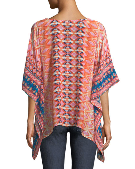 Briyana Graphic-Print Silk Tunic Top