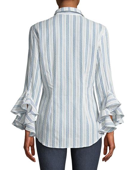 Carmella Striped Ruffle-Sleeve Shirt