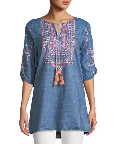 Plus Size Megha Embroidered Denim Tunic