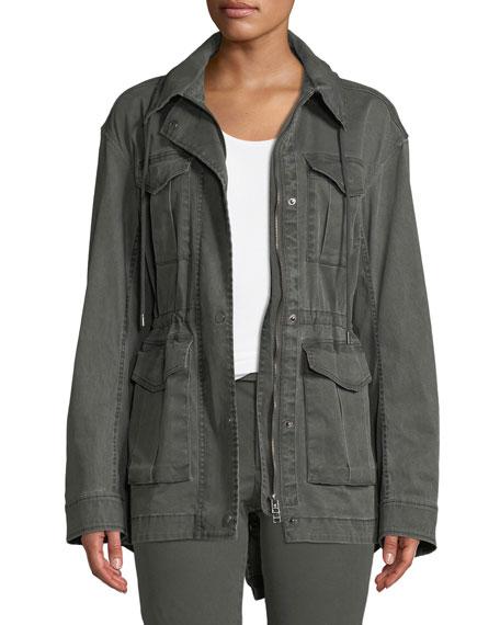 Field Zip-Front Utility Jacket with Stowaway Hood