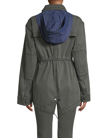 Field Zip-Front Utility Jacket with Stowaway Hood