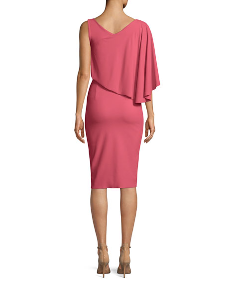 Jahira Asymmetric Draped Sheath Dress