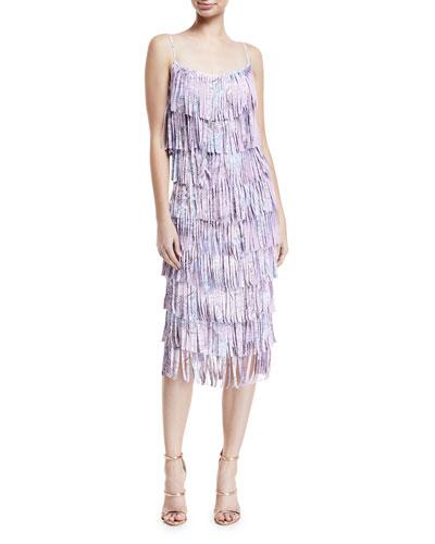 Pippa Tiered Fringe Sleeveless Cocktail Dress