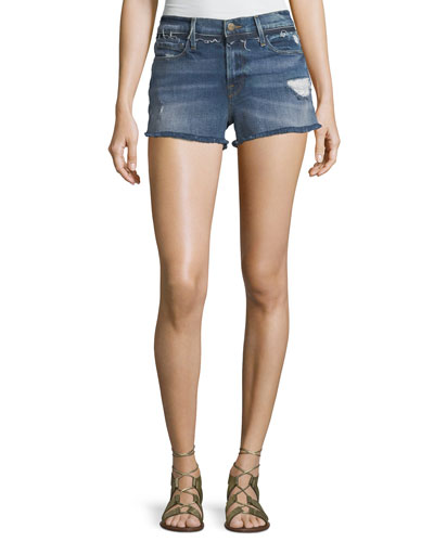 Le Cutoff Denim Shorts with Released Waistband