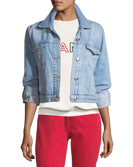 FRAME Le Embroidery Light-Wash Denim Jacket