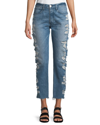 W3 Higher-Ground Straight-Leg Cropped Jeans w/ Distressed Sides