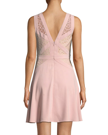 Crepe and Lace Sleeveless Mini Cocktail Dress