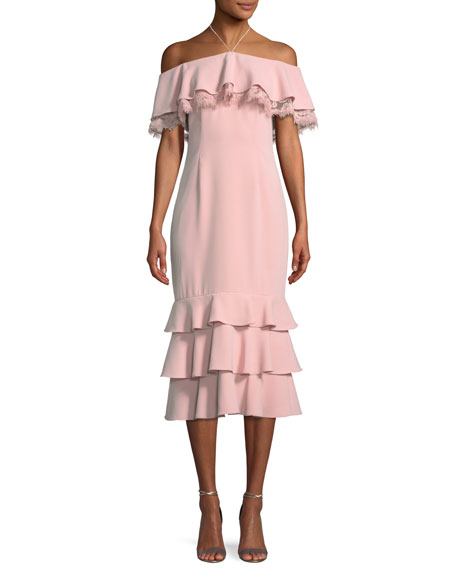 Crepe and Lace Cocktail Dress