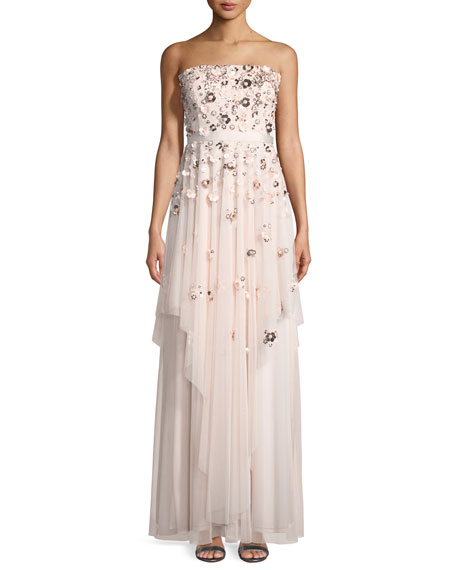 Aidan Mattox Floral-Detail Strapless Gown