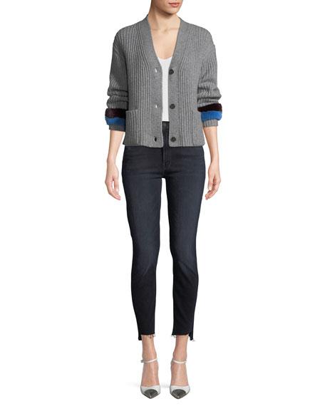 Stunner Zip Two Step Fray Skinny-Leg Jeans