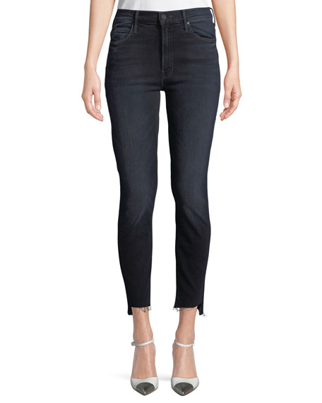 MOTHER Stunner Zip Two Step Fray Skinny-Leg Jeans