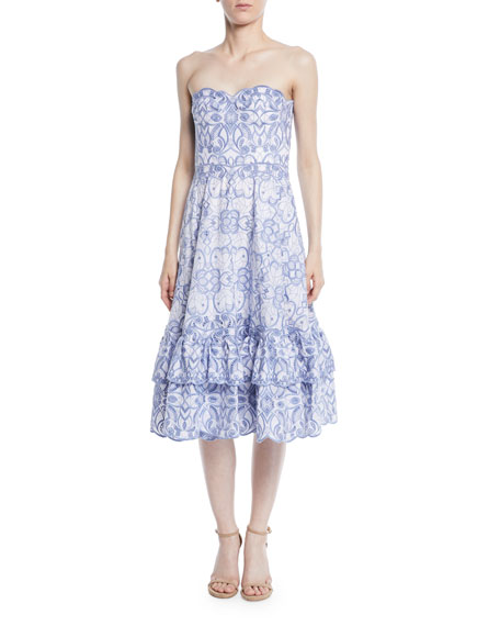 Scalloped Bustier Midi Dress
