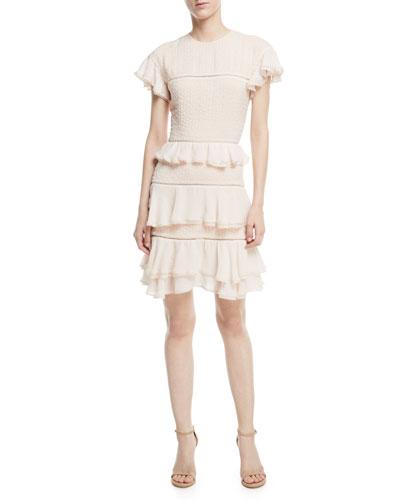 Silk Lace Tiered Ruffled Dress