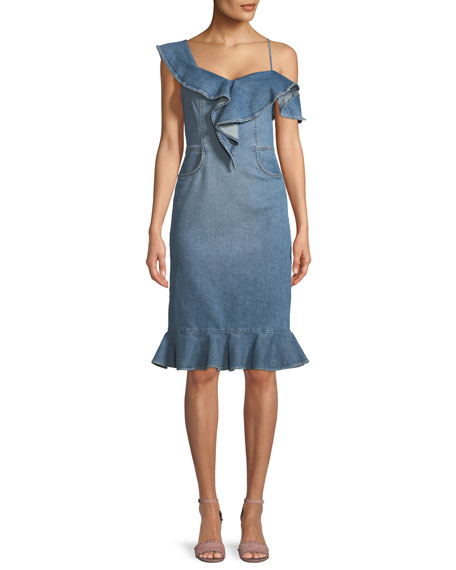 Jonathan Simkhai One-Shoulder Classic Denim Dress with Ruffles