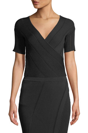Jonathan Simkhai V-Neck Asymmetric Cross-Front Rib-Knit Top