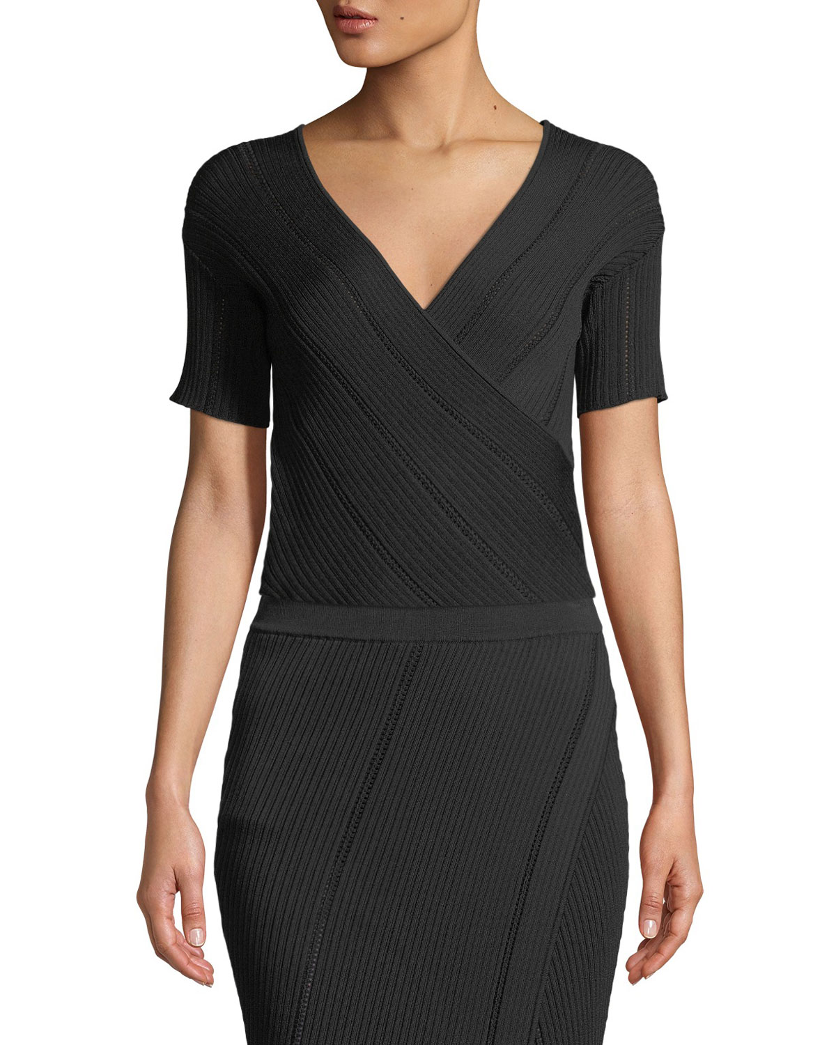 1ade1a8e1f24a Quick Look. Jonathan Simkhai · V-Neck Asymmetric Cross-Front Rib-Knit Top.  Available in Black