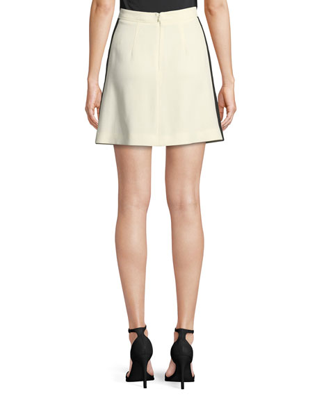 Stanforth Crepe Short Skirt with Satin Stripe