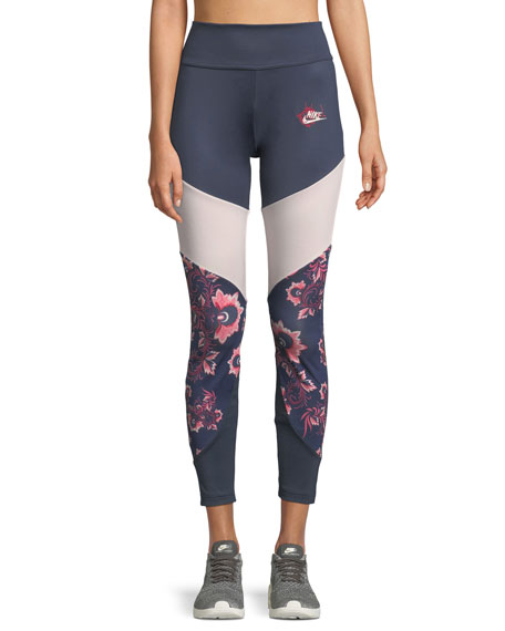 Nike Sportswear Essential Floral-Print Leggings | Neiman Marcus