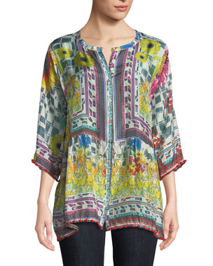d171adccb3 Johnny Was Theda Printed Tunic w/ Pompom Trim