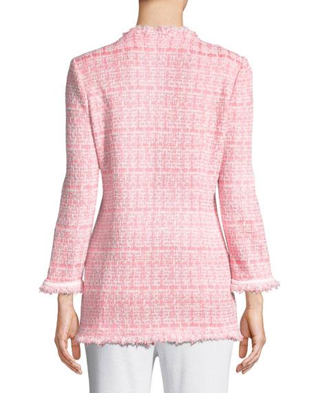 Misook Petite Tweed Topper Jacket w/ Fringe Trim