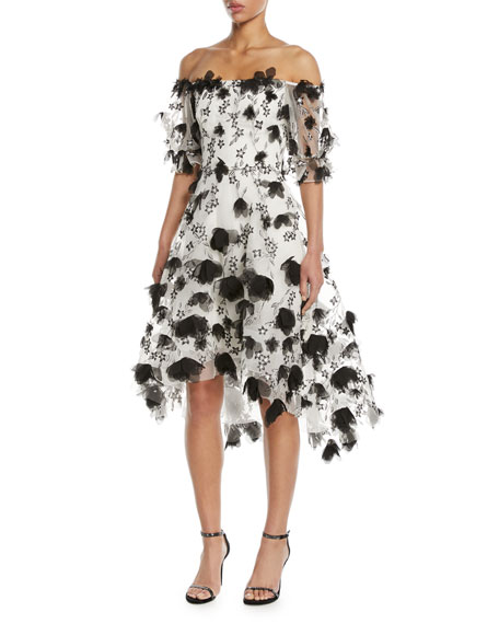 Marchesa Notte 3D Floral Embroidery Off-the-Shoulder Cocktail