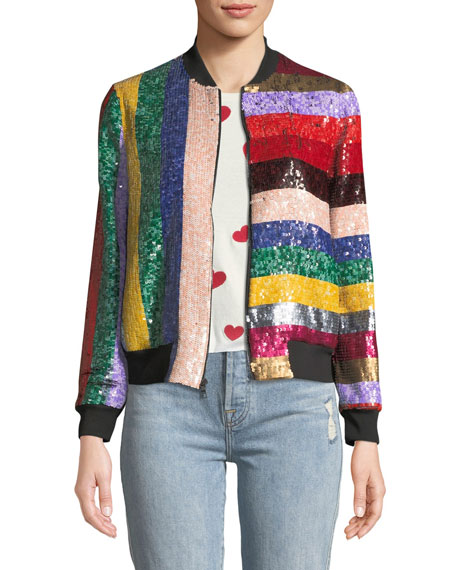 Alice + Olivia Lonnie Zip-Front Sequined Leather Bomber